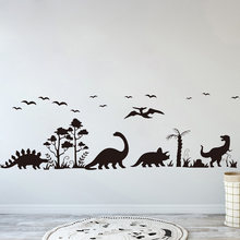 Grande dinossauro animal floresta árvore pássaro adesivo de parede quarto sala estar parque jurássico dino decalque da parede do berçário decoração murais b516