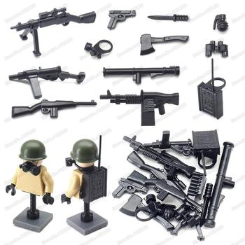 Military WW2 Figures Weapons Building Block Assembling Equipment Signal Soldier Gun Moc US Army Battlefield Model Gift Child Toy