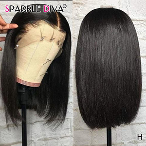 Straight Lace Front Human Hair Wigs For Black Women Brazilian Short Human Hair Wigs 150 Remy 13*4 Bob Lace Front Wig Pre Plucked(China)