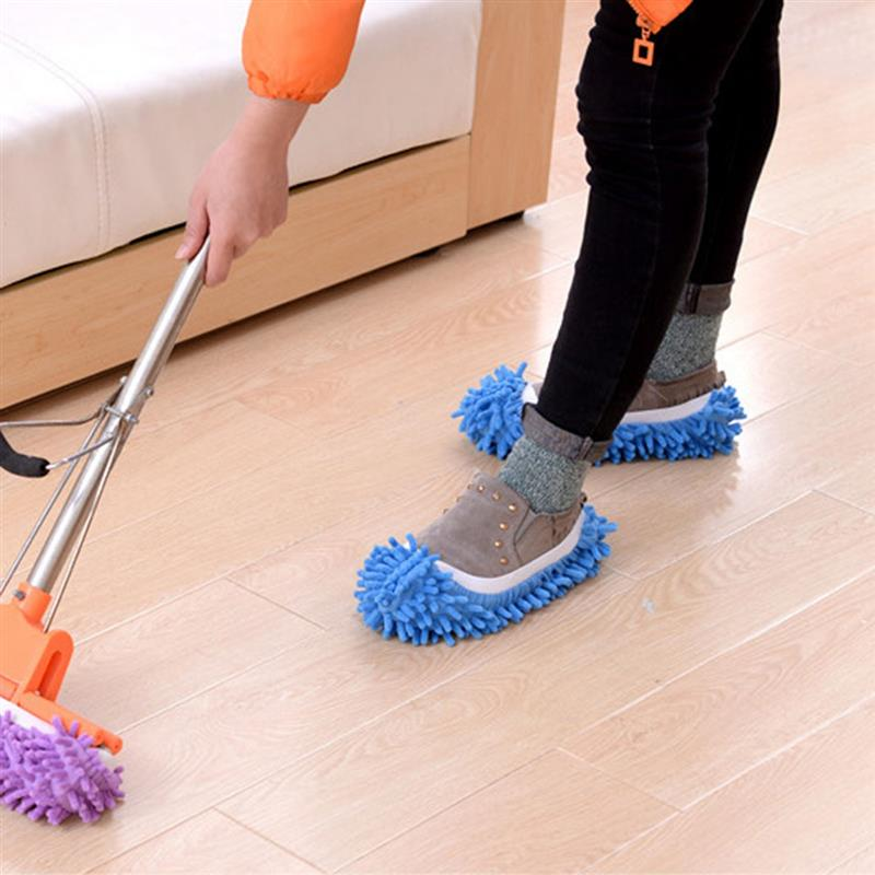 2pcs/1Pair Mop Slippers House Cleaning Dust Removal Lazy Floor Wall Dust Removal Cleaning Feet Shoe Covers Washable Reusable