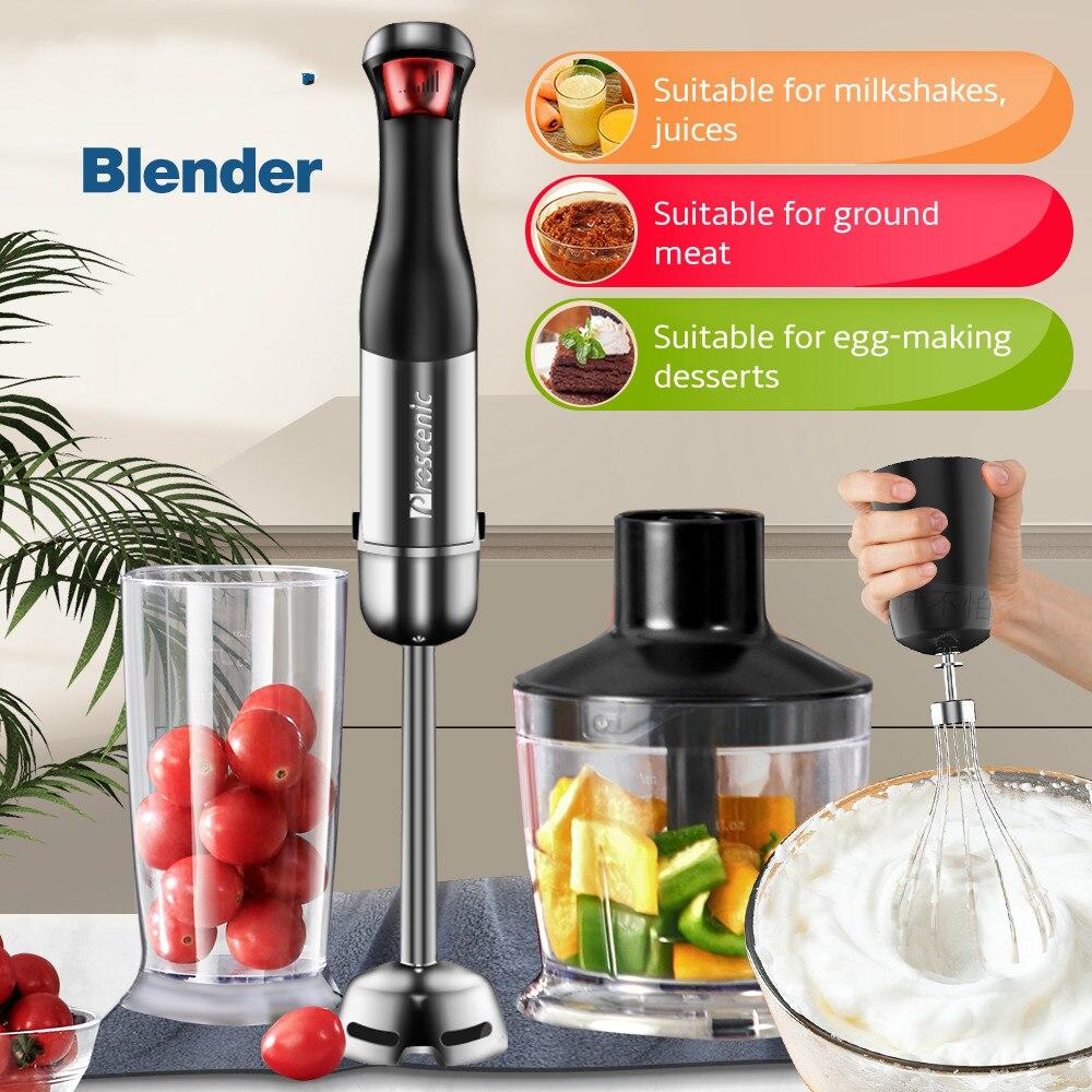 Proscenic main mélangeur bâton puissant Immersion Portable mélangeur 4 en 1 ensemble pour cuisine fouet bécher presse-agrumes mélangeur Smoothie bébé