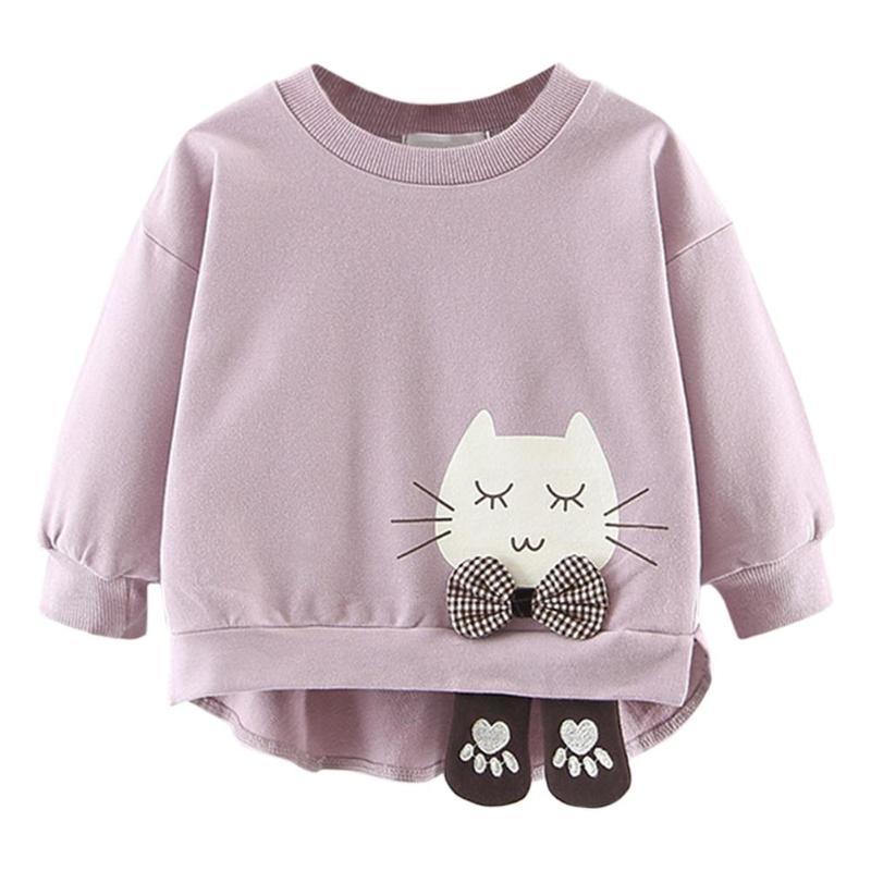 Модный Асимметричный детский джемпер с круглым вырезом для девочек; осенний свитер с длинными рукавами; пуловер с рисунком кота; топы