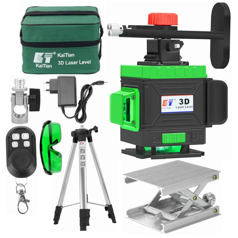 KaiTian <font><b>12</b></font> Lines <font><b>3D</b></font> Laser Level Bracket Self-Leveling 360 Horizontal&Vertical Cross Super Powerful Green Level Nivel Lasers Line image