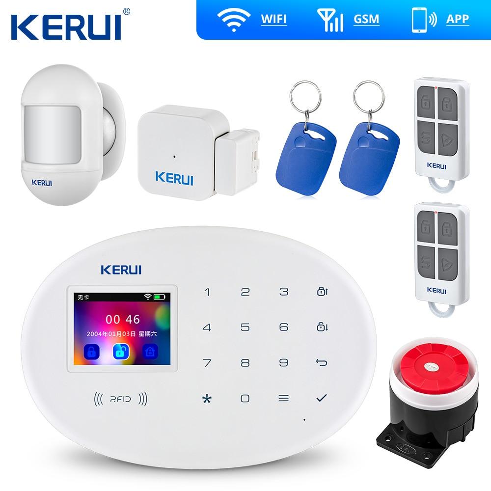 KERUI W20  GSM Wifi Alarm 2.4 Inch Touch Panel WiFi GSM Security Burglar Alarm System APP RFID Mini Movable PIR Sensor Siren