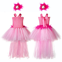 Halloween Girl Dress Animal Flamingo Figure Elegant Costume Princess Role Play Kids Carnival Party Tutu with Feather Train