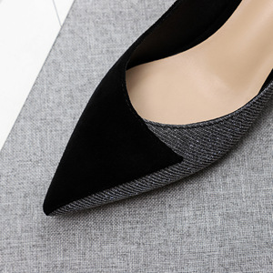 Image 4 - Plus Size Shoes Woman Sequined Cloth Crytal Thin High Heels 3.5cm 2020 Womens Shoes Office Lady Career Point Toe Slip On Heels