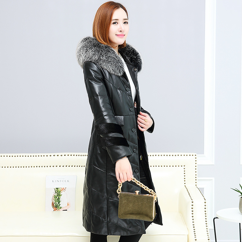 Sheepskin 100% Coat Female Genuine Leather Jacket Winter Jacket Women Fox Fur Collar Long Down Jackets Plus Size 6xl MY S