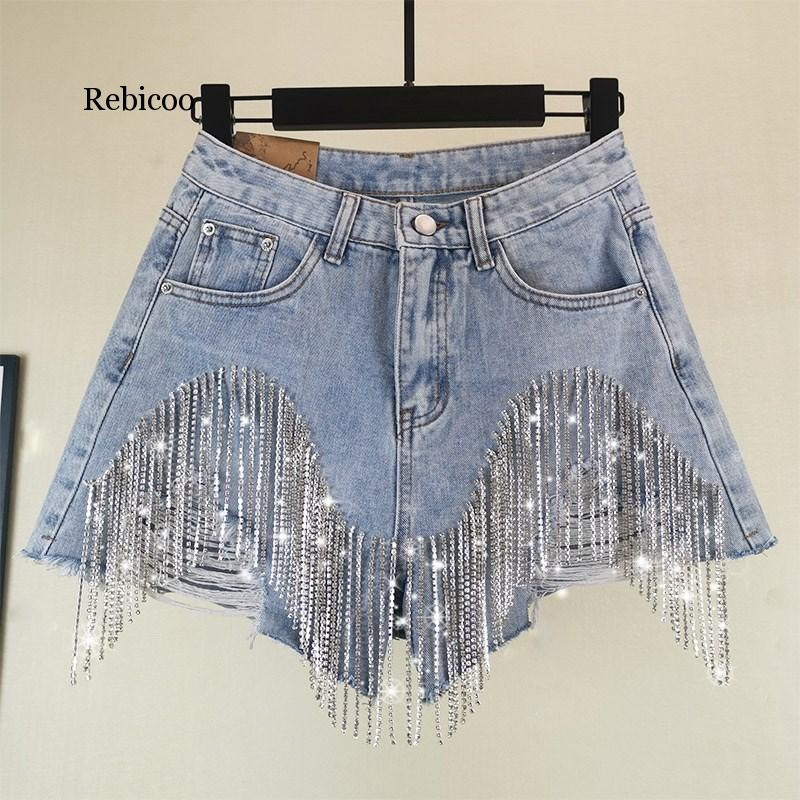 Rebicoo Summer European Style High Quality Diamond Tassels Denim Shorts Woman Fashion High Waist Jeans Shorts