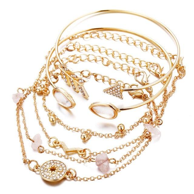 NPKDS bijoux transfrontaliers européens et américains nouvelle boussole cassé Bracelet en forme de V Bracelet Six pièces costume dames cadeau