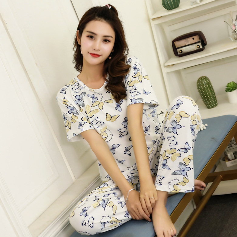 Summer Pajamas WOMEN'S Short Sleeved Trousers Set Full Butterfly M-XXL (16 Yuan) 170 Grams 2019 New Style
