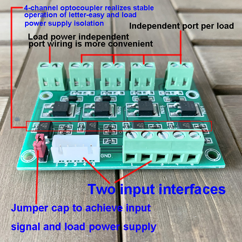 4 Channel 2 Inputs Optocoupler Isolation Relay Module FET Field-Effect Tube Module NMOS LRO24N DC 3.3-24V 10A Solenoid Driver
