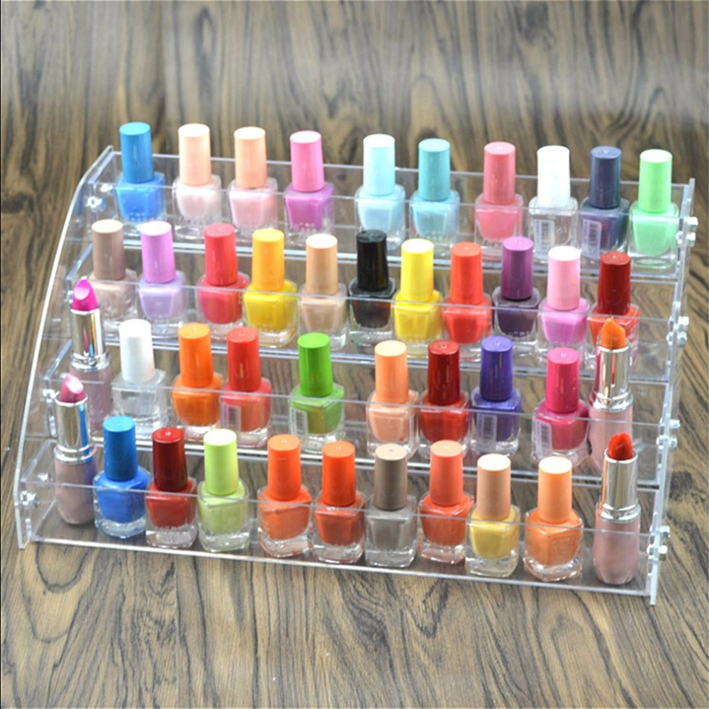 Multi-Layers Transparent Lipstick Nail Polish Holder Display Stand Clear Acrylic Portable Makeup Storage Organizer Rack