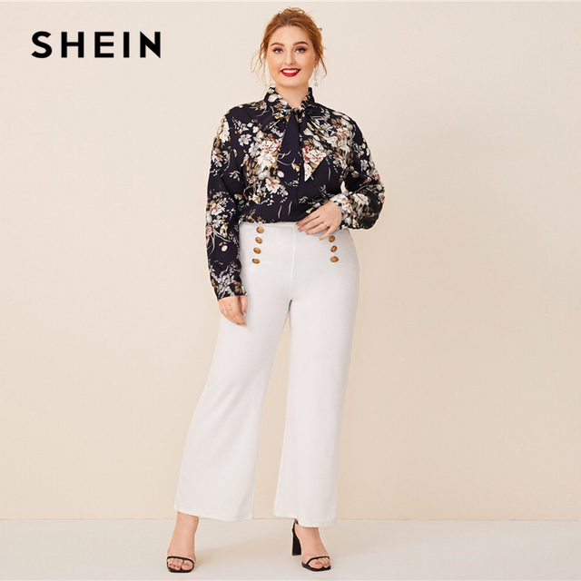 SHEIN Plus Size Navy Tie Neck Botanical Print Top Women Autumn Solid Elegant Office Lady Womens Plus Tops and Blouses 4