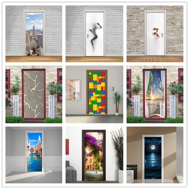 Fashion Imitation 3d Door Sticker Modern Design Bedroom Bathroom Balcony Wallpaper For Door Home Decoration Renovation Pvc Mural Door Stickers Aliexpress