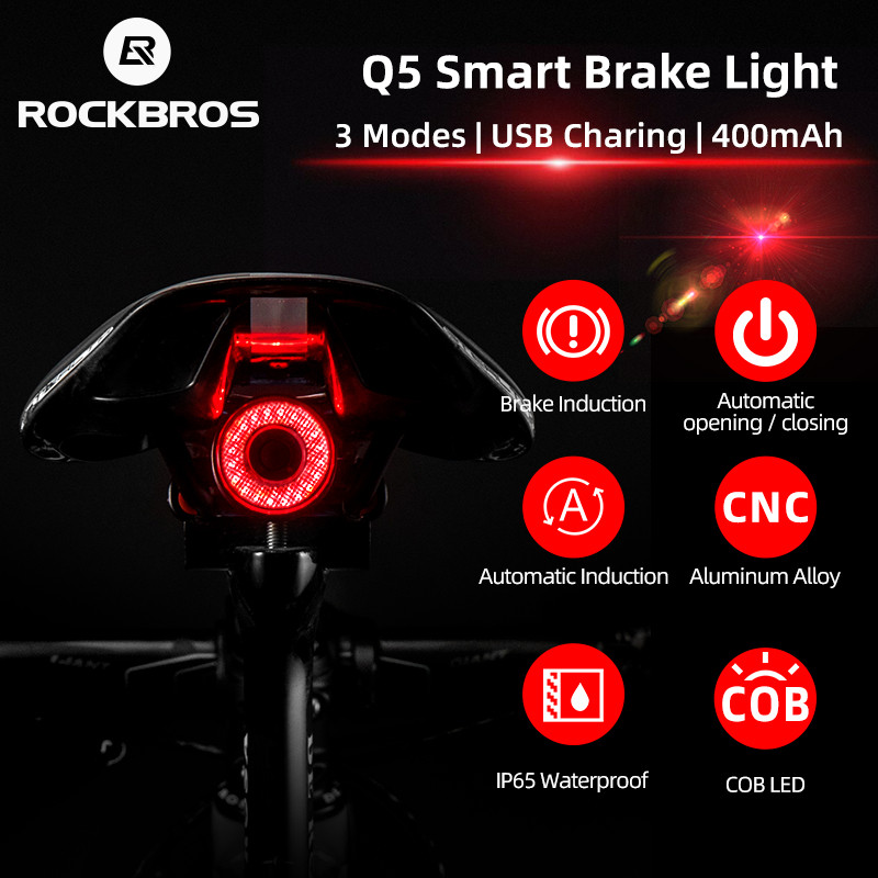 ROCKBROS Smart Auto Brake Sensing Bike Rear Light IPx6 Waterproof LED Bicycle Light USB Charging Taillight Bike Accessories Q5