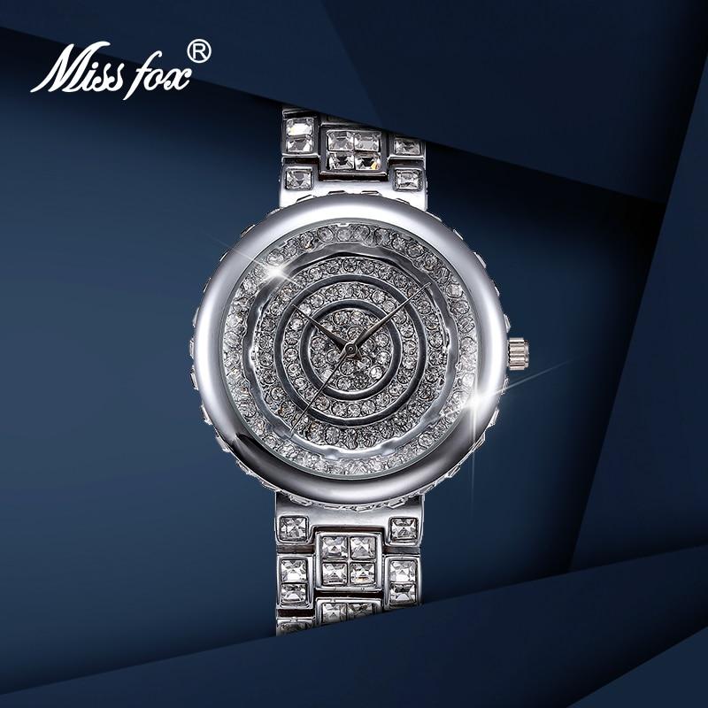MISSFOX Ladies Watches Luxury 2019 Silver Waterproof Bracelets Women's Watch Top Brand For Women Quartz Watches With Gift Box