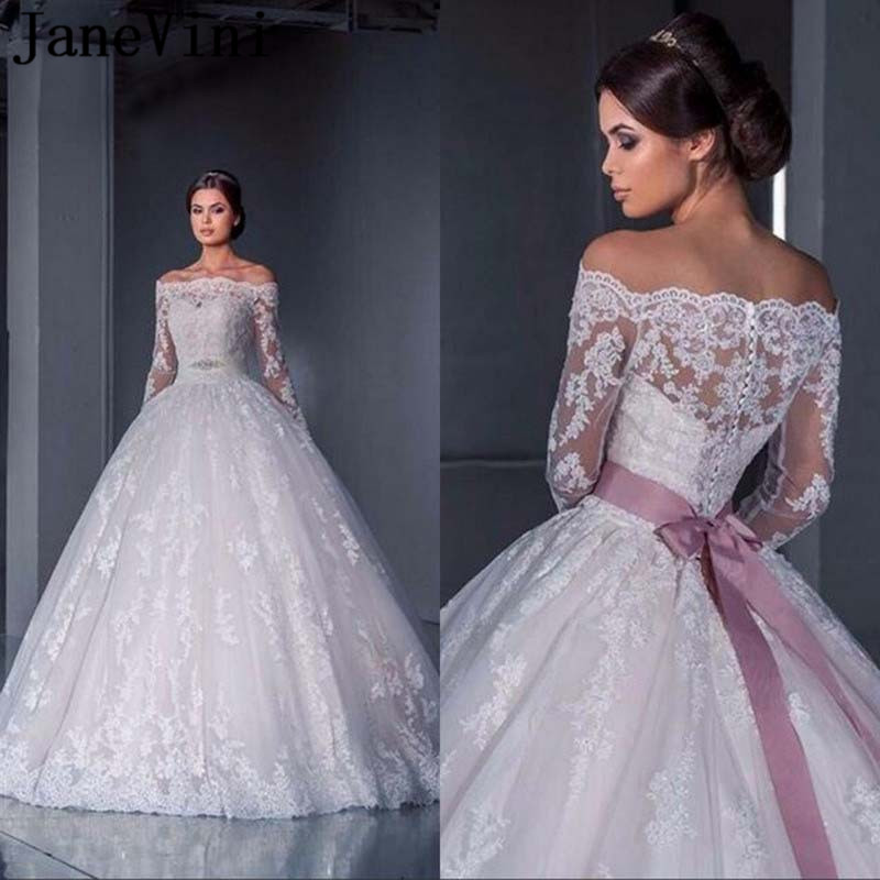 Janevini Ball Gown Lace Wedding Dresses In Dubai Bridal Gowns Long