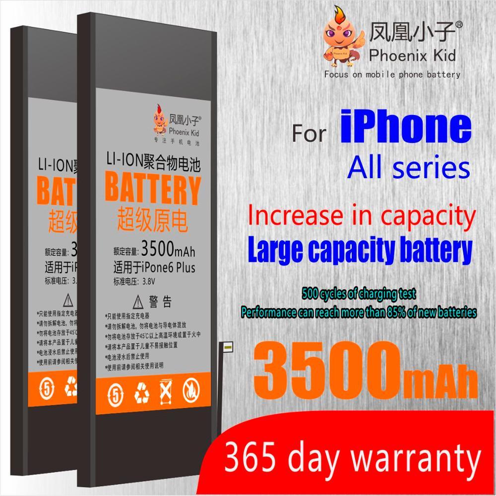 Phoenix Kid Original For Apple IPhone 5 5S/5C 6 6S 7 Battery Replacement Mobile Phone Bateria Real High Capacity Free Repair Kit