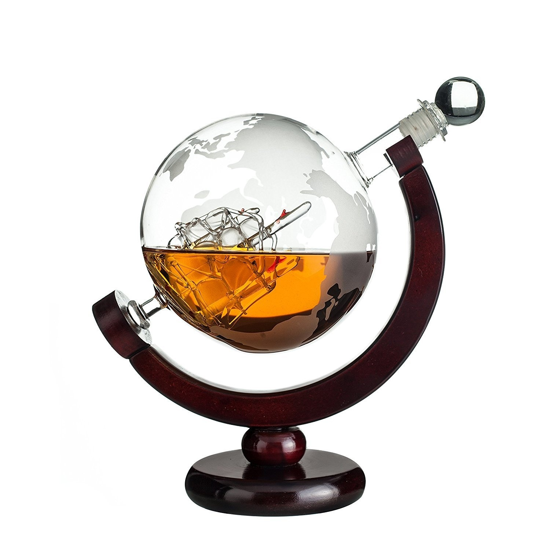 Mini 850ml cam küre şarap dekantörü ahşap taban viski şişesi restoran Bar malzemeleri