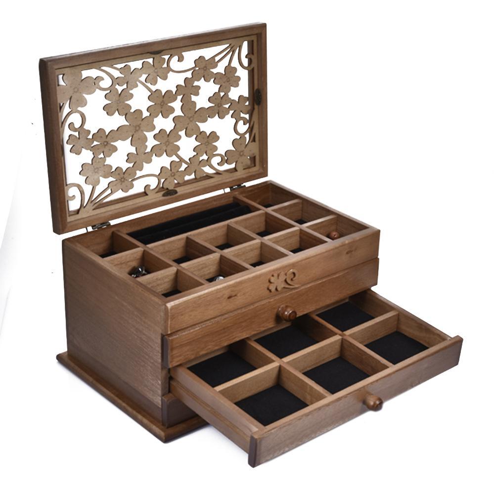 Boîte de rangement bijoux cerise sac à bijoux en bois boîte organisateur avec 3 tiroirs marron foncé pour boucles d'oreilles collier épingle à cheveux