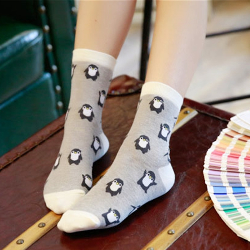 1 Pair Casual Cute Cartoon Penguin Animal Women Cotton Soft Socks Ankle Socks Lady Winter Autumn Warm Comfortable Sock