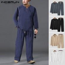 Coton hommes ensembles Vintage solide à manches longues col en V chemises cordon pantalon rétro 2021 Streetwear décontracté hommes costumes S-5XL INCERUN