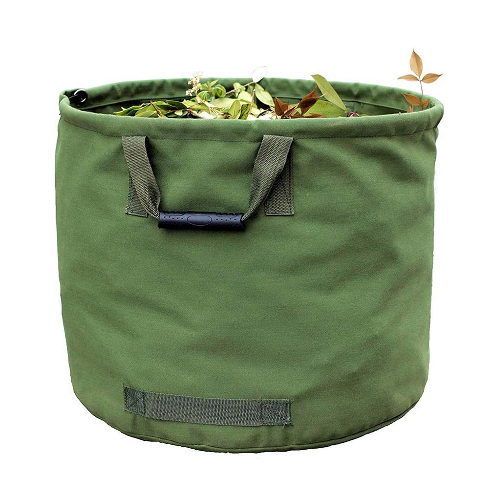 Portable Foldable Large Waste Bag Garden Leaves Waste Trash Bag Waterproof Canvas Camping Reusable Trash Storage Container