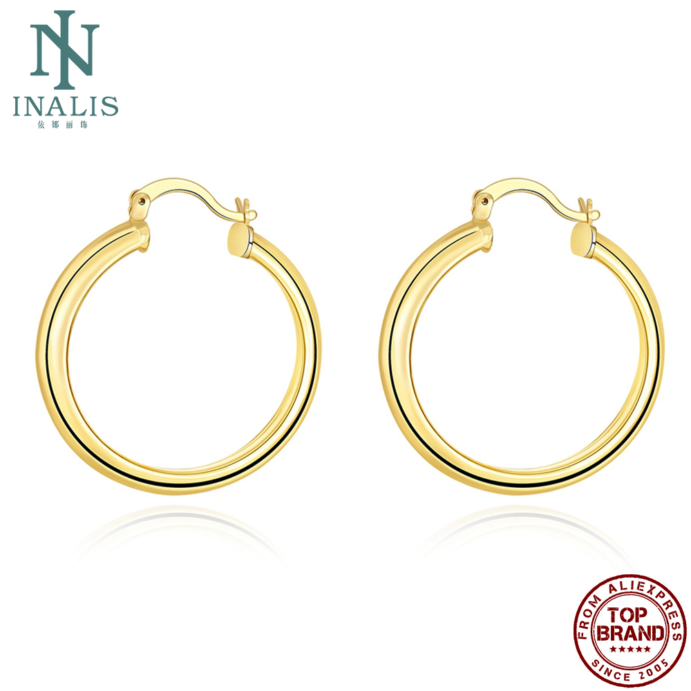 INALIS Copper Hoop Earrings For Women Plating Gold Round Party Earring Personality Fashion Trend Simple Jewelry New Listing
