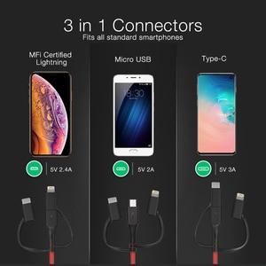Image 4 - BlitzWolf MT4 3 en 1 Type C + foudre + Micro câble de données USB avec MFI certifié pour Samsung Xiaomi pour iPhone 11 X Max