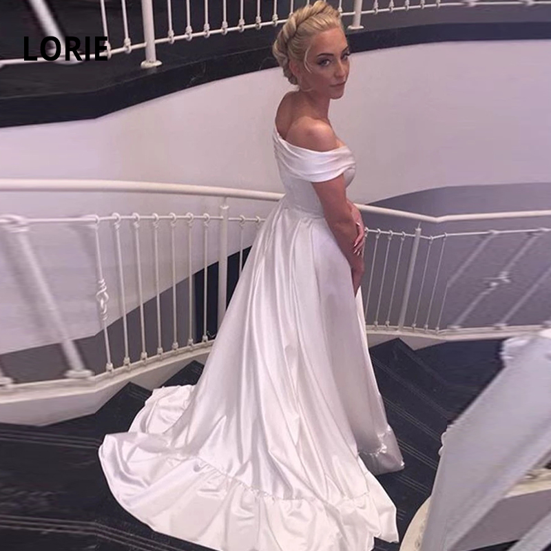 LORIE Simple Cheap Elegant Satin Wedding Dress Off The Shoulder Backless Boho Bridal Gown Wedding Party Princess Gowns Plus Size