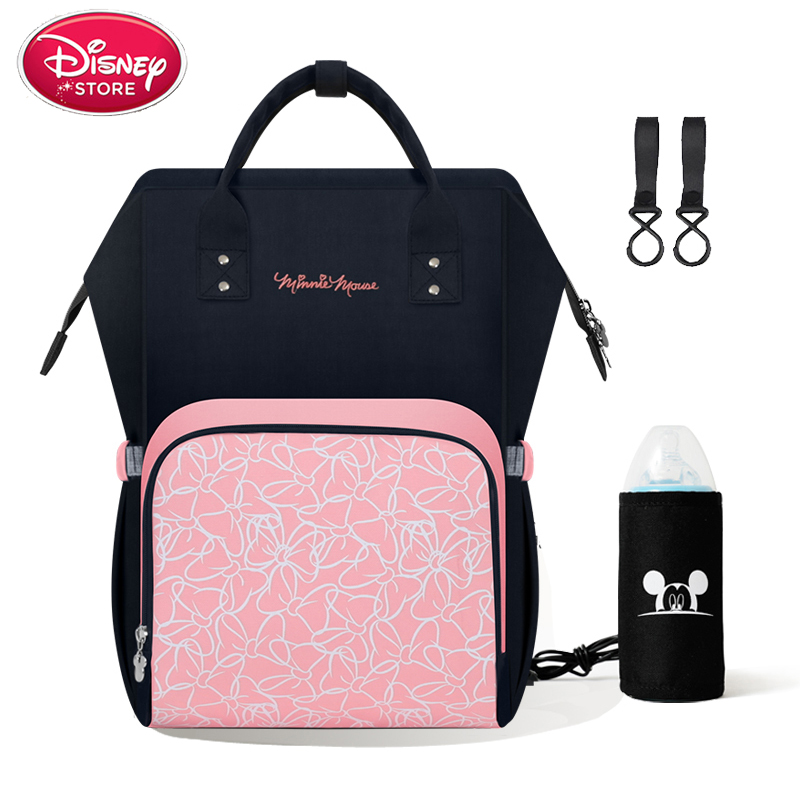 Genuine Disney Backpack Diapers Bag Mummy Diaper Bags Stroller USB Heating Maternity For Baby Care Nappy Bag Travel Handbag