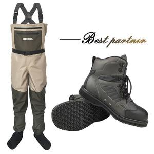 Image 1 - Angeln Kleidung Waders Fly Angeln Kleidung Im Freien Jagd Wasserdichte Hosen und Gummi Sohle Schuhe Set Waten Anzüge Stiefel DXR1