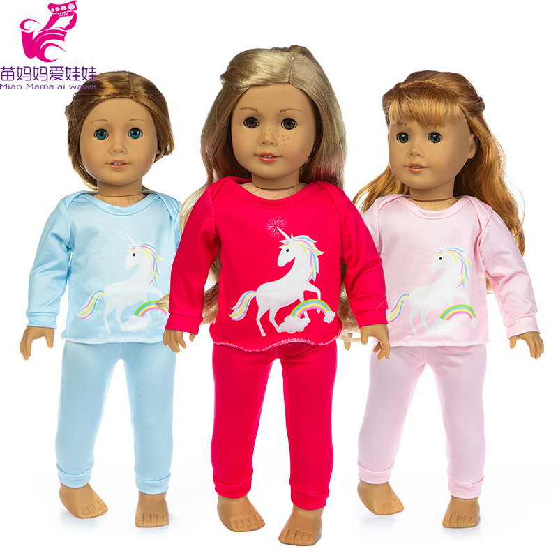 Baby Reborn Doll Clothes Rianbow Horse Pajama Set For 18 Inch 45cm American Doll Clothes Dress