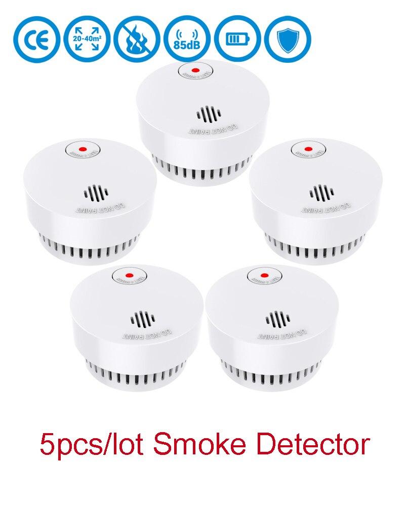 CPvan SM01 5pcs/Lot Wireless Smoke Detector 10 Yr Battery EN14604 CE Certified Fire Alarm System Photoelectric Sensor Rookmelder