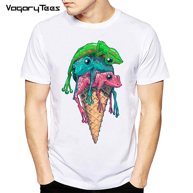 2020 Funny Icecream <font><b>Frog</b></font> Printed Men T-Shirt Summer Colorful <font><b>Frog</b></font> <font><b>Tshirts</b></font> Short Sleeve Funny Tees Casual Tops image