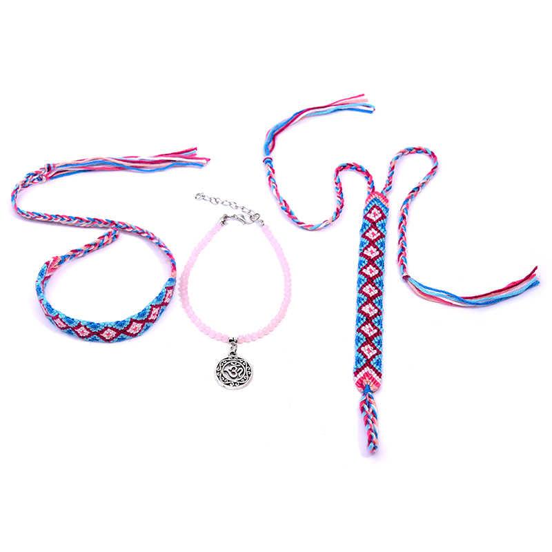 MOON สาว 3 PCS Charm Anklets สำหรับผู้หญิงทอ Bohemian คริสตัล Handmade Anklet หญิงชายหาดเครื่องประดับ Dropshipping