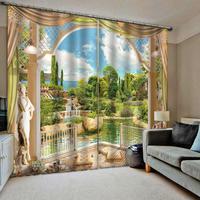 Verde cortinas paisagem parque 3d janela cortina de impressão blackout luxo para sala estar