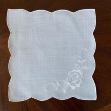 Elegant Handkerchief Embroidery White with Blooming Rose Wedding-Accessory Bridal/bridemaids
