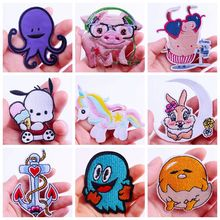 Pulaqi Cartoon Animals Patches For Clothing Pig Stripes Embroidered Iron On Unicorn Patch Stickers Clothes DIY Badges