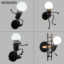 เหล็กLedโคมไฟติดผนังCreative Wallไฟโลหะหุ่นยนต์การ์ตูนSconce Wall Lightห้องนอนเด็กห้องนอนโคมไฟ