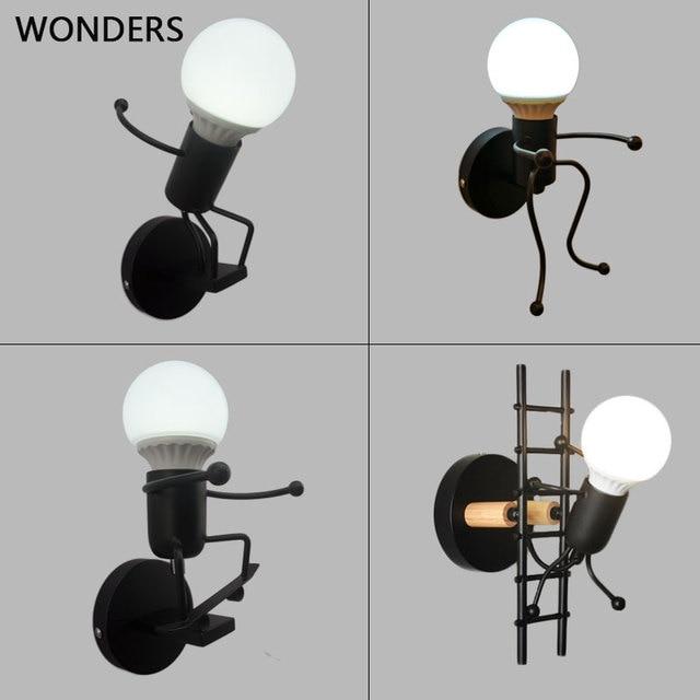 철 Led 벽 램프 미국 크리 에이 티브 벽 조명 금속 만화 로봇 Sconce 벽 빛 침실 어린이 룸 Luminaire