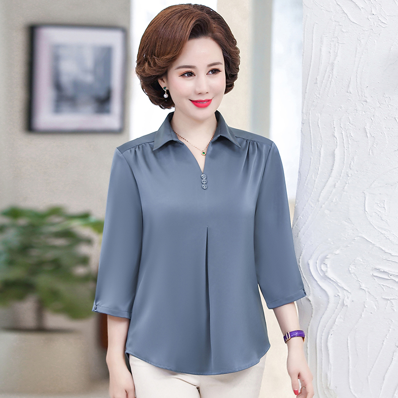 Spring Summer Women Tops 2020 Fashion Blouses Solid Plus Size Female Clothes Loose Shirt Mother Three Quarter Sleeves Shirt