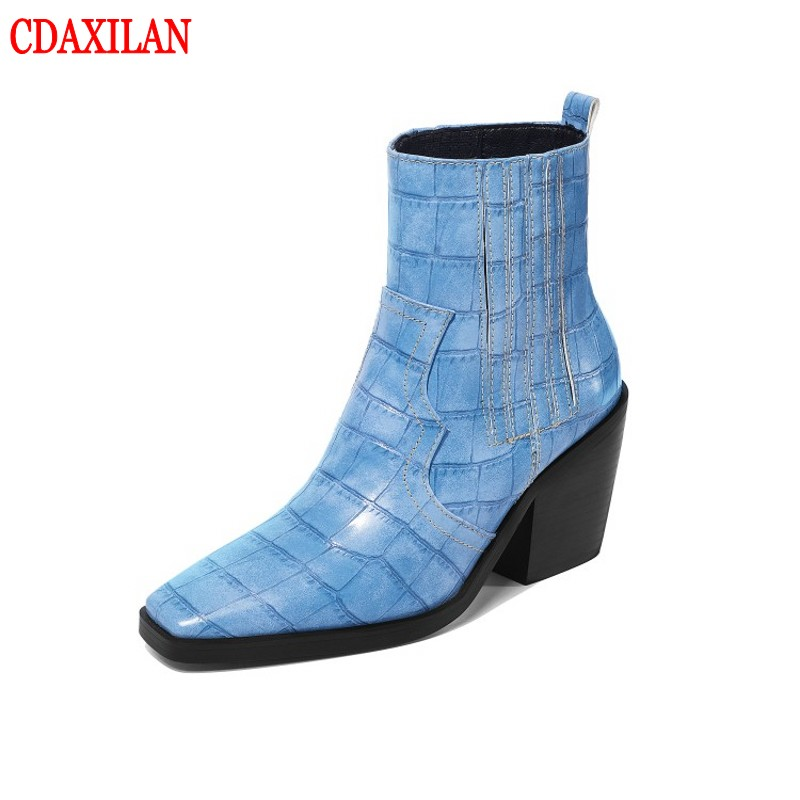 CDAXILAN new to womens short boots microfiber laether square toe high-heels elastic band ankle chelsea boot ladies wither