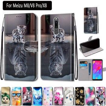 Перейти на Алиэкспресс и купить Чехол для Meizu M8 V8 pro, 5,7 дюймов, роскошный Магнитный флип-чехол из искусственной кожи, чехол-кошелек для Meizu X8, 6,2 дюймов, слот для карт, чехол-кни...