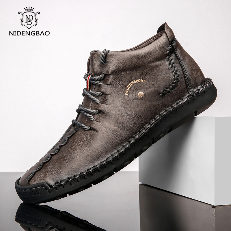 Large Size 39-50 Male Casual Men Shoes 2020 Fashion New Leather Fur Handmade Vintage High Tops Male Boots Warm Sneakers Hombres