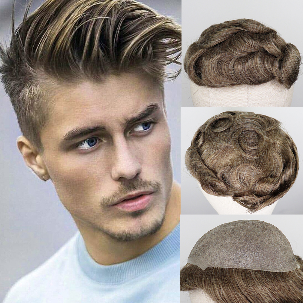 YY Wigs Men Toupee 8x10 Thin Pu Brown Mix Grey 6 Inch Skin Replacement System Brazilian Remy Hairpiece For Men Mix Color Men Wig