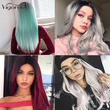 Vigorous Middle Part Long Straight Synthetic Wig Ombre Black White Wig for Women Heat Resistant Fiber ultra long center part straight synthetic wig