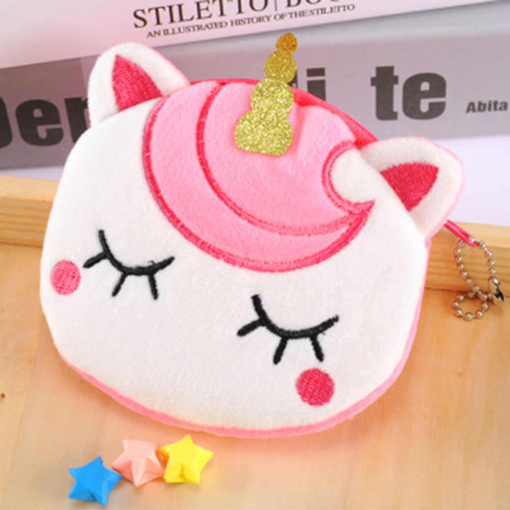 1Pc New  Coin Bag Woman Girl Unicorn Cartoon Pattern Coin Purses Colorful Kid Small Bag Wallet For Travel