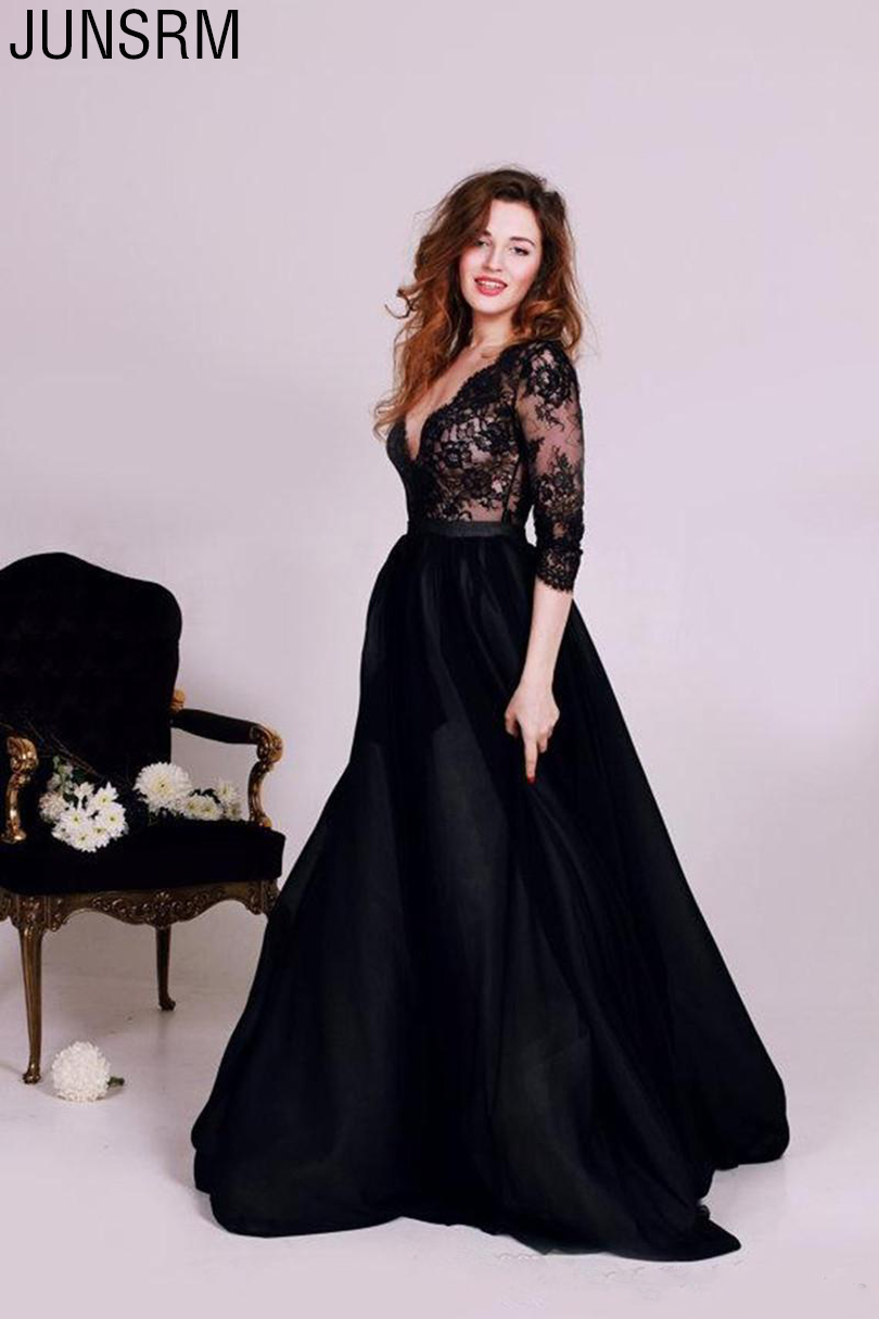2019 Black Lace A Line Wedding Dresses Sexy Deep V Neck 3/4 Long Sleeve Satin Sweep Train Bridal Gowns Special Occasion Dress