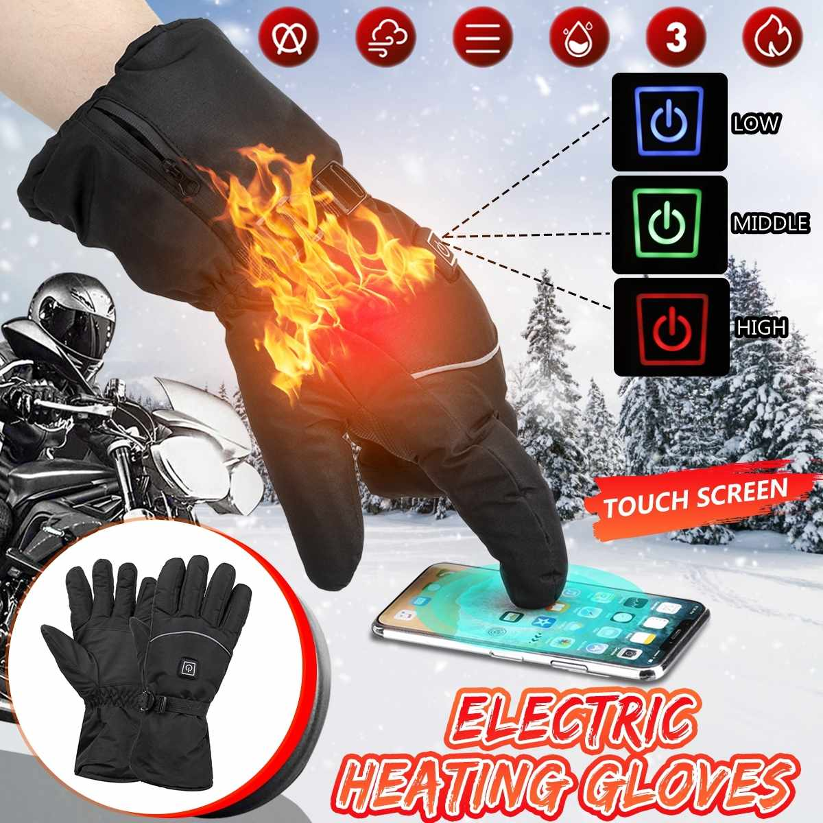 3 Level Winter USB Hand Warmer Electric Thermal Heated Gloves Waterproof Battery Powered For Motorcycle Racing Skiing Gloves